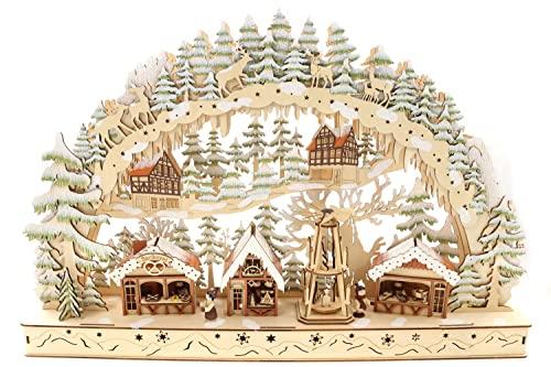 Schwibbogen Lichterbogen Holzschnitt, Weihnachtsmarkt & Weihnachtspyramide, Glitzer, 60 * 10 * 39cm,...