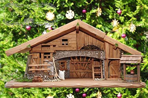 Große Weihnachtskrippe + Zubehör, 70-cm Ausführung: massiv Vollholz Massivholz, Krippe und...
