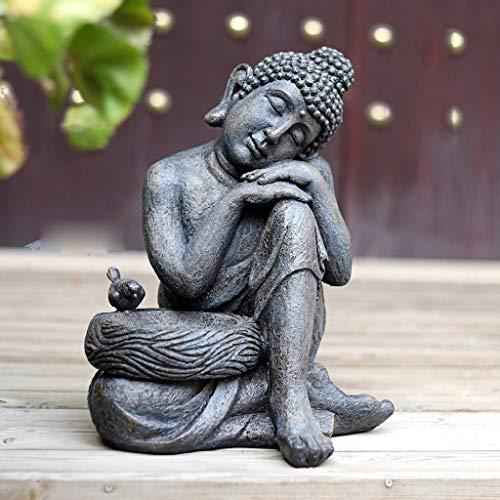 NYKK Buddha Figur Hof Garten Dekoration Zen Ornament Innen- und Außen Sitzender Buddha Ornament...