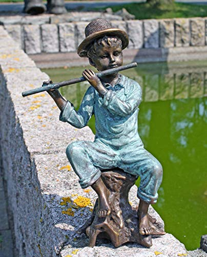Unbekannt Bronzeskulptur Junge mit Flöte beim Spielen Dekorationsfigur aus Bronze