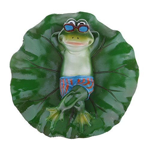 Fenteer Künstliche schwimmende Lotus Leaf mit Frosch Teichfigur für Garten, Pool, Aquarium, Teich...