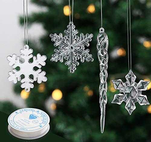 Anstore Christbaumschmuck Eiszapfen und Schneeflocken Anhänger - Weihnachtendeko Acryl 12 Stücke...
