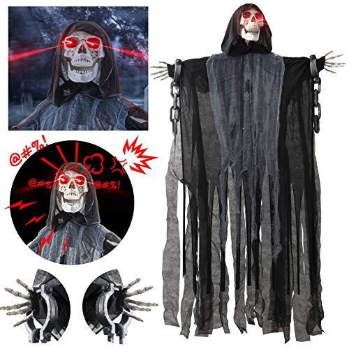 Prextex 152cm animierter hängender Grim Reaper mit Schädel und Kettenfesseln für die gruseligste...
