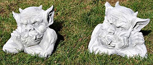 JS GartenDeko Dekofigur Gartenskulptur Skulptur Beton Figur Büste Drache Gargoyle Torwächter 2-er...