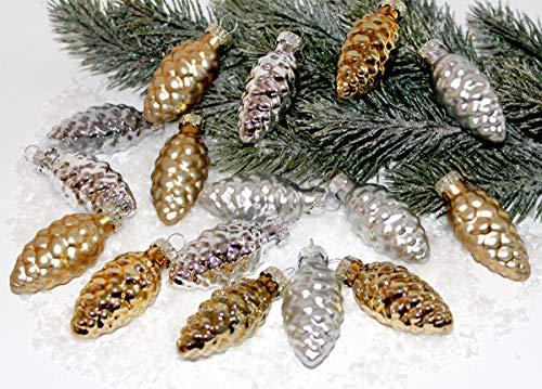 16er Set Christbaumschmuck GLASZAPFEN Zapfen Weihnachtsschmuck Gold und Silber Anhänger...