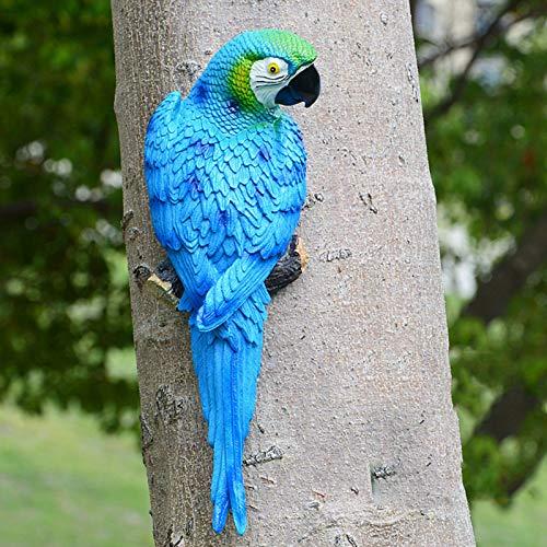 SSLLH Papagei Figuren,Gartendeko Papagei Skulptur,Realistische Papagei aus Harz Ornament,Gartenfigur...
