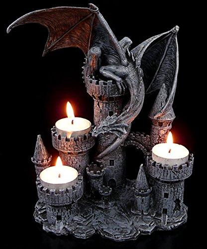 Figuren-Shop.de Drachen-Teelichthalter - Vier Burgtürme mit Drache