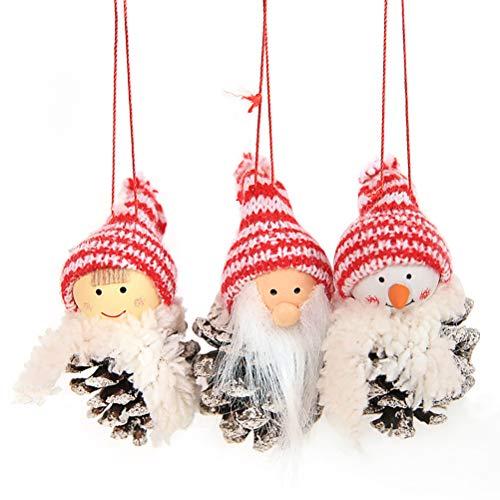 YeahiBaby 3pcs Weihnachtsbaum Deko Anhänger Weihnachten Plüschtier Weihnachtsmann Schneemann...