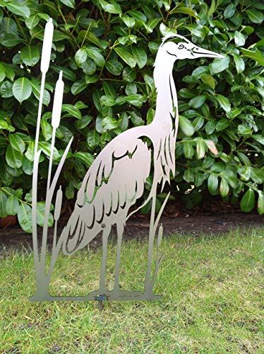 Gartendeko Fockbek Metallfigur Gartenfigur Reiher Höhe ca. 70 cm Rostfigur Garten Figur Teich Deko...