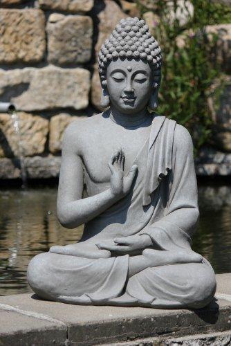 Stone-Lite Figur Buddha sitzend mt Handgeste - für Haus und Garten - Höhe 73 cm - dunkelgrau