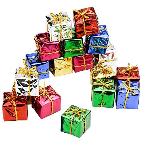 Zaleonline 36 Stück Mini Weihnachtsgeschenkbox Ornamente Miniatur Geschenkbox Klein bunt Deko...