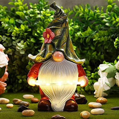 YUJIA Gartenzwerg-Statue - Harzfigur Mit Solar-LED-Leuchten, Outdoor-Sommerdekoration Für Den...