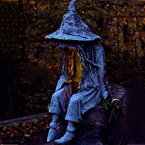 hfior Gartenstatuen, Sitzende Hexe Mit LED-Licht Gartendeko Ghul Rasenlampe Gartenfiguren Für...