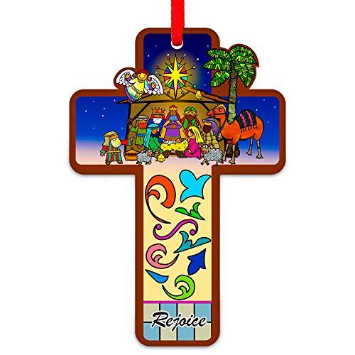 FaCraft Christliche Weihnachtskrippe mit Kreuz, 8,9 x 6,3 cm, religiöse Ornamente für den...