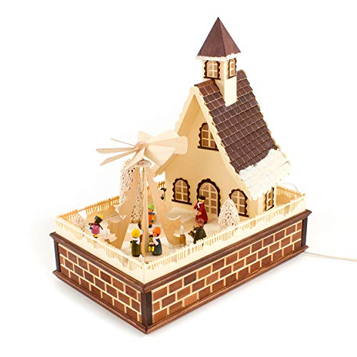 Colours-Manufaktur Haus mit elektrischer Pyramide - Weihnachten in Familie * Hergestellt im...