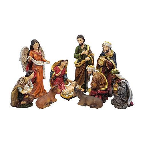 MMZB Baby Jesus Angel Weihnachtskrippe Harz Ornamente Figur, Heilige Familie Krippe Krippe Set, 10...