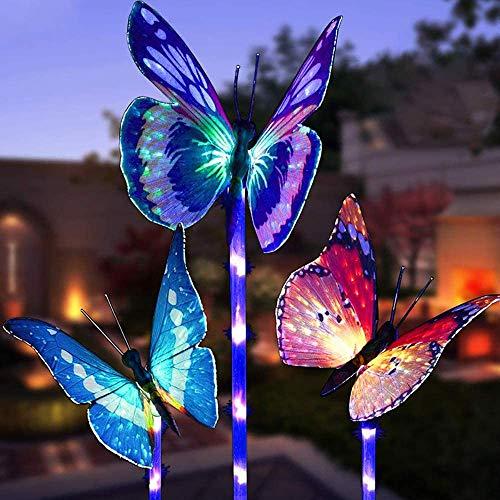 Schmetterling Garten Solar Beleuchtung für Außen,MMTX 3 Stücke Solar Garten Licht Farbe Ändern...