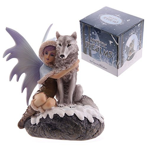 Mystic Realms Fairy Figurine Mit Wolf Companion