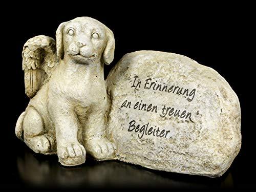 Figuren Shop GmbH Hunde-Engel-Figur sitzt neben Grabstein | Grab-Figur, handbemalt, 24,5 cm