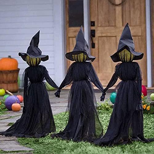 Halloween Deko Garten, Horror Hexe Ghost Gartenstatuen für Außen groß mit Leuchten und Stimme...