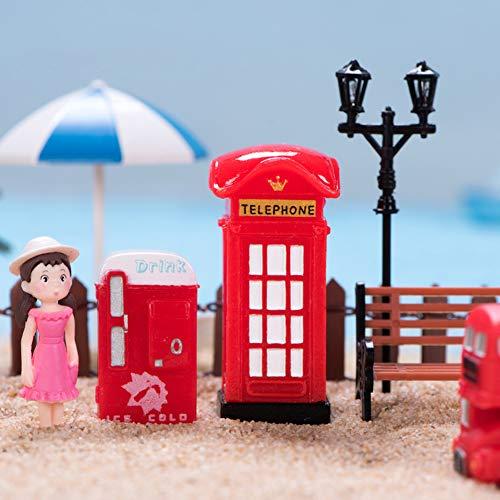 beautijiam Miniatur-Figuren im Vintage-Stil, Bus-Briefkasten, Telefonzelle, London, Heimdekoration,...