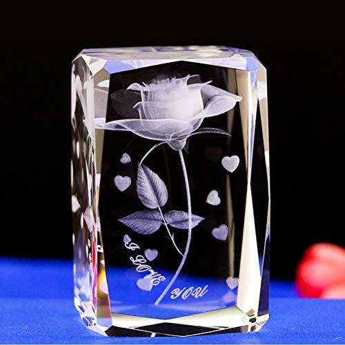 Minkissy Kristall 3D Rose und Herz graviert Glas ich Liebe Dich Basis Figur Ornament Geschenk für...