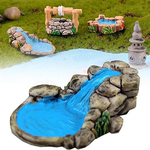FUSSUF 1pc Micro Landschaftsgarten Dekor DIY Miniatures Dekoration for Fairy Lawn Gebirgsbach...