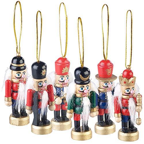 infactory Weihnachtsbaumanhänger: 6er-Set Holz-Weihnachtsbaum-Schmuck Nussknacker, handgefertigt, 8...