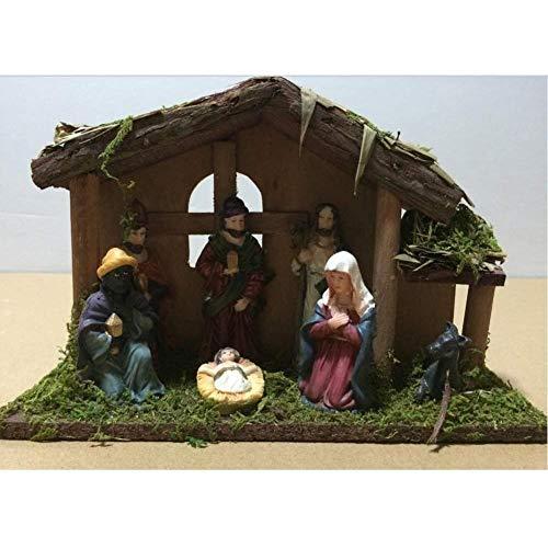 Schnee Handbemalt Krippenfiguren Weihnachtskrippe 7 Figuren Holz Tischdeko Beleuchtet Weihnachtsdeko...