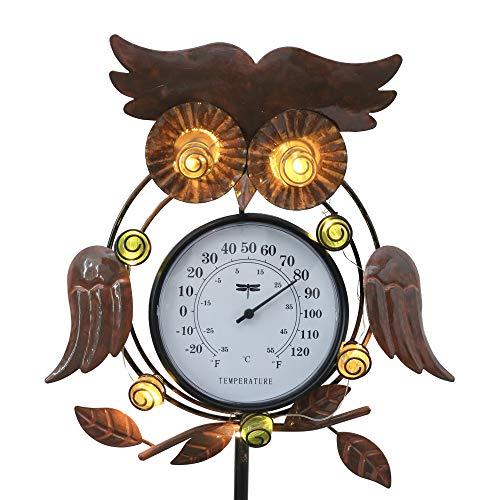 TERESA'S COLLECTIONS Metall Eule Gartenfiguren mit Thermometer Garten LED Solarleuchte für Außen...
