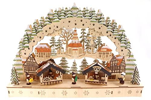 Schwibbogen Lichterbogen Holzschnitt, Weihnachtsmarkt & Weihnachtspyramide, Glitzer, 44,5 * 8 *...