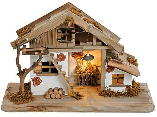 meindekoartikel Schönes Krippenhaus mit süßen Details und LED Beleuchtung aus Kiefernholz und MDF...