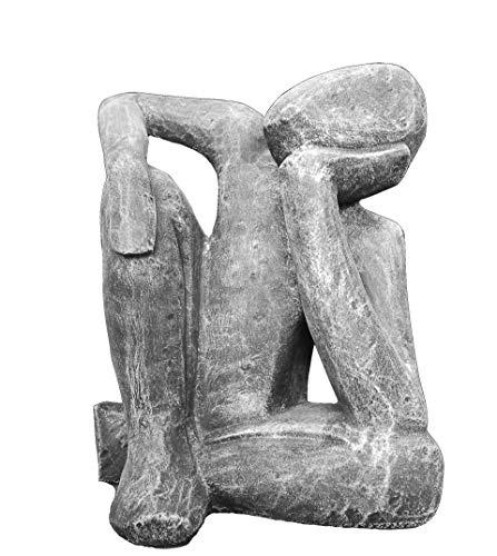 Tiefes Kunsthandwerk Steinfigur Träumer in Schiefergrau, abstrakte Deko-Figur für Haus und Garten,...
