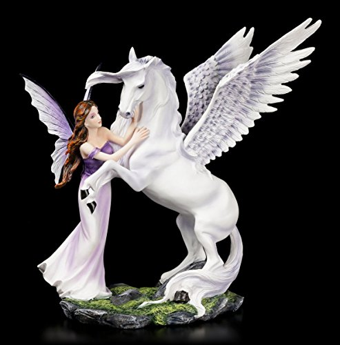 Elfen Figur - Eire mit Pegasus - Fee Feen Deko Fantasy Fairy