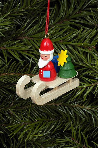 Baumbehang Weihnachtsmann auf Schlitten, vom Erzgebirge