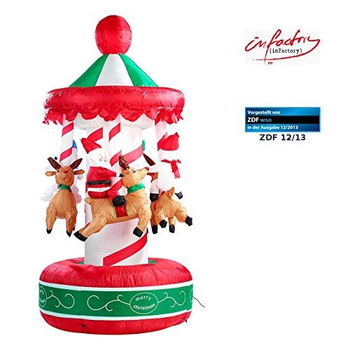 infactory Aufblasbares Karussell: Selbstaufblasendes Weihnachtskarussell 2 Meter (aufblasbar...