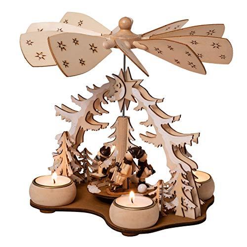 Wichtelstube-Kollektion Weihnachtspyramide f. Teelicht Winterkinder, 22cm Pyramide Weihnachten