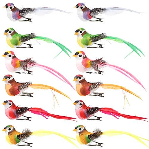 PRETYZOOM 12 Stücke Künstliche Vögel mit Federn und Clip Styropor Form Schaum Gartendeko Figuren...