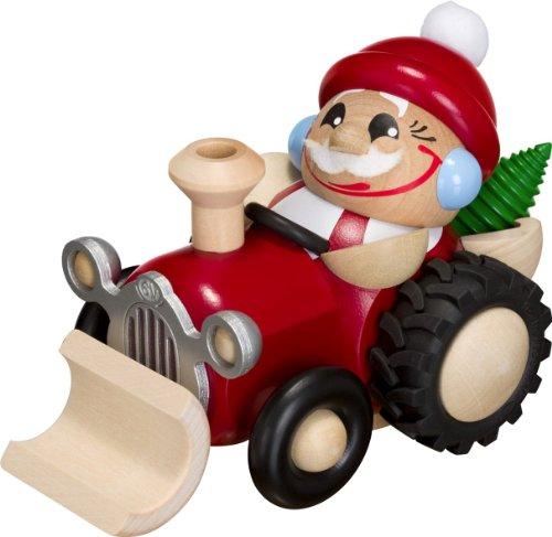 Weihnachtsfigur Kugelräuchermann Nikolaus auf Traktor HxBxT = 11x11x16cm NEU Räuchermann Schnee...