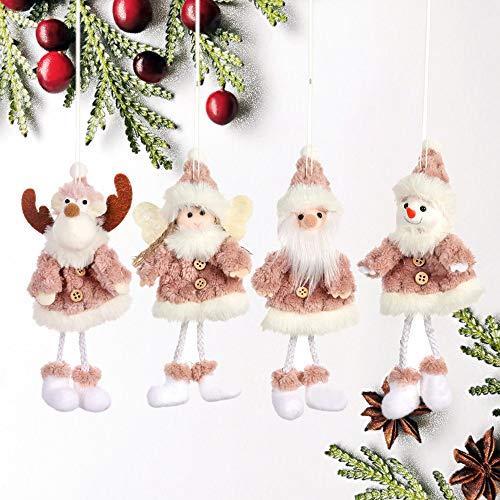 Finoki 4 Stück Weihnachtsanhänger Weihnachtsbaumschmuck Weihnachtsmann Schneemann Elch Engel...