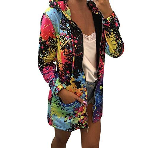 Damen Sweatjacke mit Kapuze Hoodies Langarm Zip Jacke Sweatshirt Basic Outerwear Loose Mode Hooded...