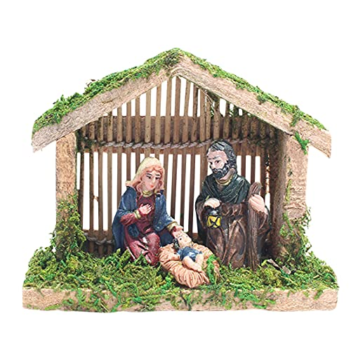 HAOXIU Weihnachtskrippe Holz , Weihnachtskrippe Krippe Szene Dekor Harz Krippe Krippe Szene Haus...