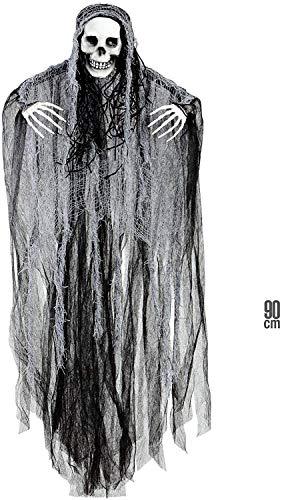 Widmann 01383 – Deko Sensenmann, 90cm, schwarz-weiß, Grim Reaper, Halloween Deko, Horror Deko,...