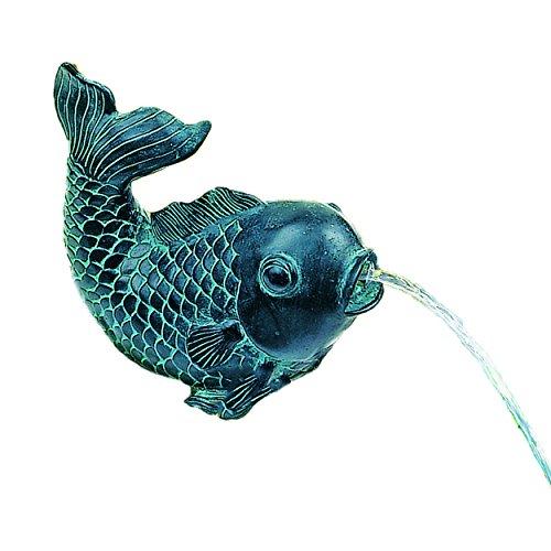 Heissner Teichfigur Speier Fisch Dekor Bronze