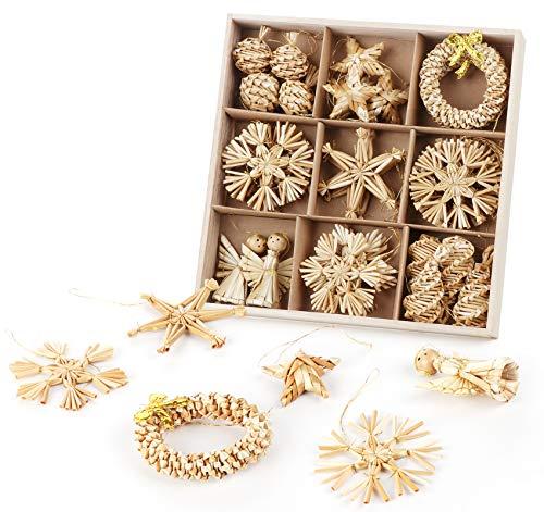 36er Set Weihnachtsbaumschmuck aus Stroh, Handgemacht Weihnachtsbaum Deko mit natürlichen Akzenten...