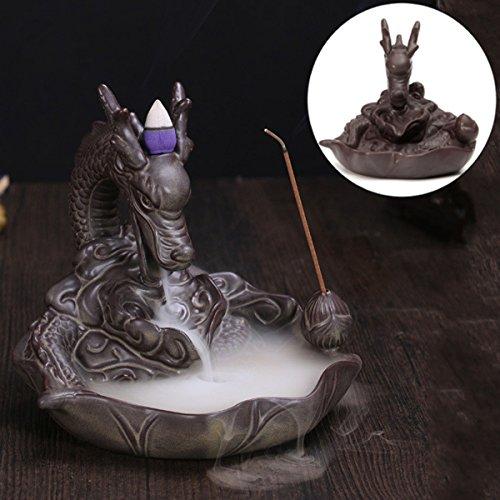KING DO WAY Rückfluss Räuchergefäß Räucherstäbchenhalter Dragon Keramik Luftbefeuchter Dragon...