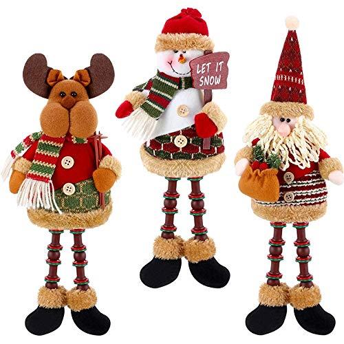 Senmubery 3 StüCk Weihnachtsmann/Schneemann/Rentier Weihnachts Schmuck, Weihnachten Lange Beine...