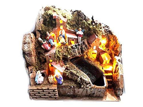 Mini Weihnachtskrippe komplett 20 x 15 cm Höhe 20 cm mit Wasserfall Vera Grün mit Kork und...