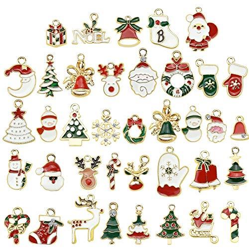 SNAGAROG 38 Stück Weihnachten Anhänger Sets, Mini Weihnachtsanhänger Christmas Charms Ornamente...