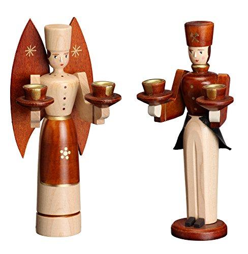 Weihnachtsfiguren Engel und Bergmann natur – Holzengel - Weihnachtsengel – Holzfiguren – Höhe...